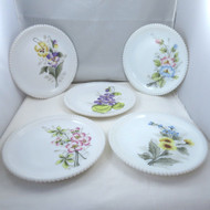 Lot of 5 Vintage Westmoreland Beaded Edge Milk Glass Plates Painted Flowers