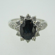 14k White Gold Sapphire Ring with Diamond Halo Accents Size 7