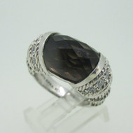 Sterling Silver Judith Ripka Smoky Quartz & CZ Ring Size 7