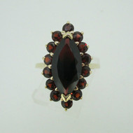 10k Yellow Gold Garnet Ring with Garnet Halo Accents Size 6 1/2