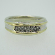 14k White Gold Approx .20ct TW Diamond Band Two Tone Yellow Gold Accents Ring Size 10 3/4