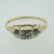 Vintage 14k Yellow Gold Ring with Diamond Size 6 1/2