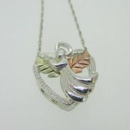 Sterling Silver & 12K Black Hills Gold Coleman Co Heart Angel Necklace