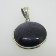 Sterling Silver Oval Large Purple Goldstone Pendant