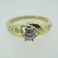 14k Yellow Gold Approx .25ct Round Brilliant Cut Diamond Engagement Ring Size 6