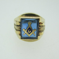 10k Yellow Gold Blue Glass Masonic Ring Size 7