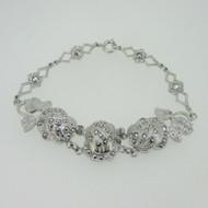 Sterling Silver Theda Marcasite Flower Rose Bracelet Vintage Style