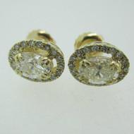 14k Yellow Gold .91ct TW Oval Cut Diamond Stud Earrings with Diamond Halo Accents Screw Backs