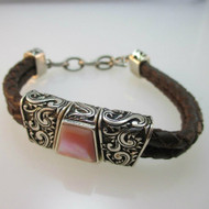 Sterling Silver Carolyn Pollack Pink Mother of Pearl Leather Bracelet