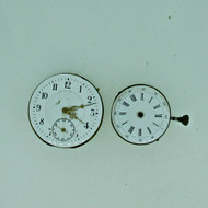 Lot of Two Antique Swiss Pocket Watch Movements Parts Steampunk (B8463)