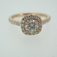 14k Rose Gold .48ct Round Brilliant Cut Diamond Ring with Diamond Halo Accents Size 7