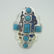 Sterling Silver Turquoise Hammered Ring Size 9