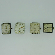 Lot of Four Vintage Elgin and Hampden Movements and Dials Parts Steampunk (B8480)