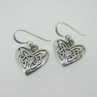 Sterling Silver Heart Gaelic Style Dangle Earrings