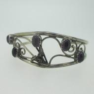 Sterling Silver Southwest Purple Amethyst Cuff Bracelet