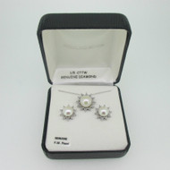 Sterling Silver Freshwater Pearl Diamond Accent Necklace Earring Set
