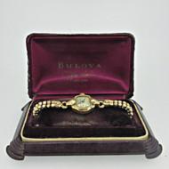 Vintage Bulova 6AH 17J Swiss 10k Rolled Gold Plated Ladies Watch with Box (B8406)