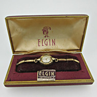 Vintage Elgin 907 17J 10k Rolled Gold Plated Ladies Watch Parts with Box (B8407)