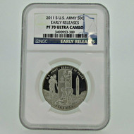 2011 S NGC PF70 Ultra Cameo 50C Early Releases U.S. Army Coin (600922)