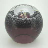 Vintage Clear & Purple Art Glass Oil Lamp Paperweight Round Bubble Ball Sphere
