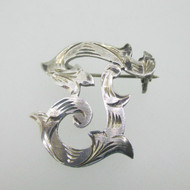 Sterling Silver Initial Monogram Letter F Pin Brooch