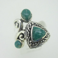 Sterling Silver Green Stone Filigree Style Ring Size 10
