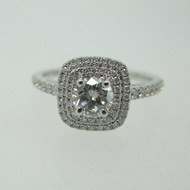 14k White Gold .37ct Round Brilliant Double Diamond Halo Ring Size 6 3/4