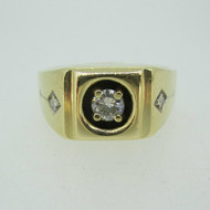 14k Yellow Gold Men's Band Approx .40ct Round Brilliant Cut Diamond Ring Size 13 1/2