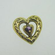 Sterling Silver Gold Wash Franklin Mint 85 Heart Slide Pendant February Birthstone