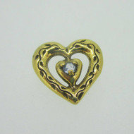 Sterling Silver Gold Wash Franklin Mint 85 Heart Slide Pendant March Birthstone
