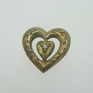Sterling Silver Gold Wash Franklin Mint 85 Heart Slide Pendant April Birthstone