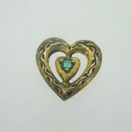 Sterling Silver Gold Wash Franklin Mint 85 Heart Slide Pendant May Birthstone