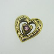 Sterling Silver Gold Wash Franklin Mint 85 Heart Slide Pendant June Birthstone