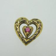 Sterling Silver Gold Wash Franklin Mint 85 Heart Slide Pendant July Birthstone