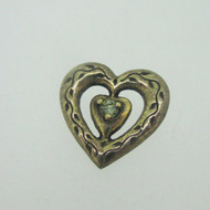 Sterling Silver Gold Wash Franklin Mint 85 Heart Slide Pendant August Birthstone