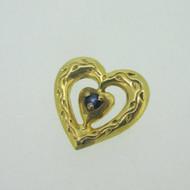 Sterling Silver Gold Wash Franklin Mint 85 Heart Slide Pendant September Birthstone