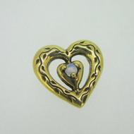 Sterling Silver Gold Wash Franklin Mint 85 Heart Slide Pendant October Birthstone