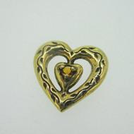 Sterling Silver Gold Wash Franklin Mint 85 Heart Slide Pendant November Birthstone