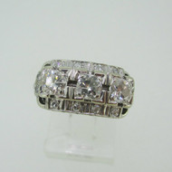 Vintage 14k White Gold Approx 1.0ct TW Round Brilliant Cut Diamond Band Ring Size 4 1/2