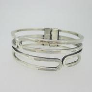 Sterling Silver Sauteur Geometric Hinged Bangle Bracelet