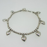 "Sterling Silver Heart Vintage Style Charm Style Bracelet 7"""