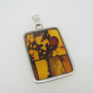 Sterling Silver Orange Amber Mosaic Rectangle Pendant