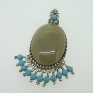 Sterling Silver Reversible Double Sided Turquoise Southwest Slide Pendant