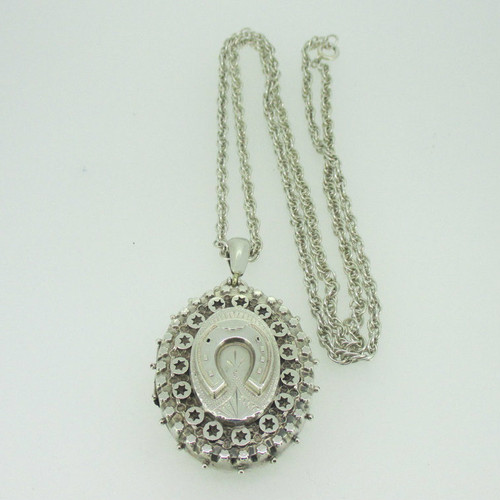 Sterling Silver Vintage Antique Victorian Horseshoe Locket Necklace