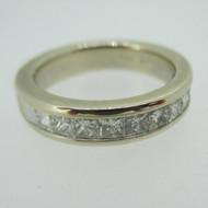 14k White Gold AP 1.0ct TW Princess Cut Diamond Wedding Anniversary Band Ring Size 6 1/2