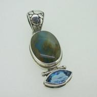 Sterling Silver Sarda Blue Topaz Blue Stone Pendant