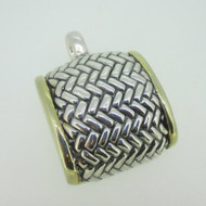 Sterling Silver Simon Sebbag Two Tone Slide Weave Pattern Pendant
