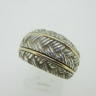 Sterling Silver & 14K Yellow Gold Accent Textured Dome Ring Size 7