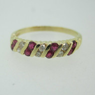 14k Yellow Gold Ruby and Diamond Band Ring Size 7