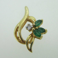 14K Yellow Gold Emerald Slide Pendant with Diamond Accent